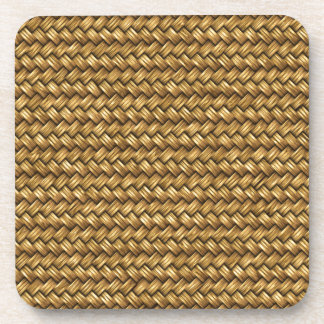 Wheat Color Basket Weave Pattern Texture Drink Coaster