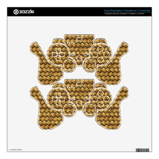 Wheat Color Basket Weave Pattern Texture Skin For PS3 Controller