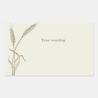 Wheat country wedding single grass rectangular sticker