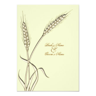 Wheat country wedding yellow beige 5x7 paper invitation card