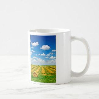 Wheat farm field at harvest coffee mug