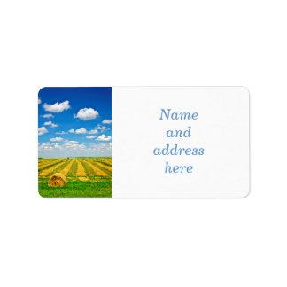 Wheat farm field at harvest label