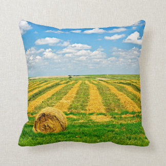 Wheat farm field at harvest pillow