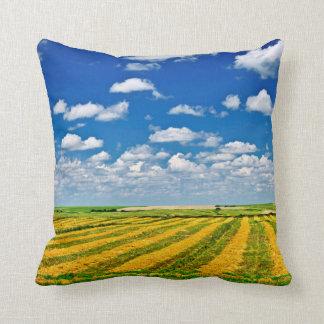 Wheat farm field at harvest throw pillows