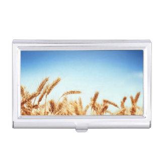 Wheat field against blue sky business card holder