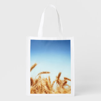 Wheat field against blue sky reusable grocery bags
