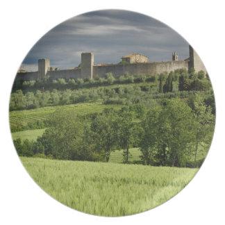 Wheat field and distant Monteriggioni, in the Melamine Plate