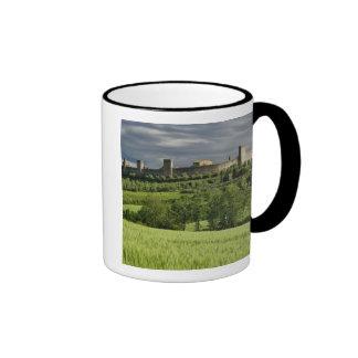 Wheat field and distant Monteriggioni, in the Ringer Coffee Mug