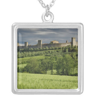 Wheat field and distant Monteriggioni, in the Silver Plated Necklace
