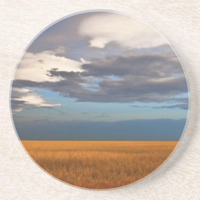 Wheat Field Fine Oil Painting Drink Coaster