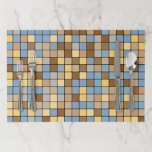 """Wheat Field Harvest Inspired Tiles Pattern Paper Placemat<br><div class=""""desc"""">This placemat design features a pattern of square tiles with colors inspired by those of a wheat field setting during the harvest season. The blues are inspired by the clear sky during the day. The beiges and browns are inspired by the colors of the wheat being harvested. [~Z0000072]</div>"""