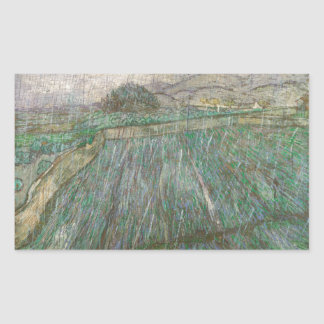 Wheat Field in Rain by Vincent Van Gogh Rectangular Stickers
