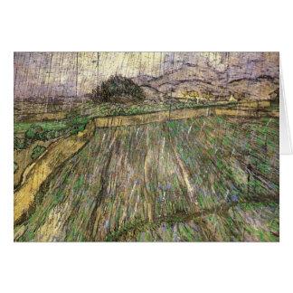 Wheat Field in Rain (F650) Van Gogh Fine Art Card