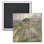 Wheat Field in Rain, Van Gogh Fine Art 2 Inch Square Magnet