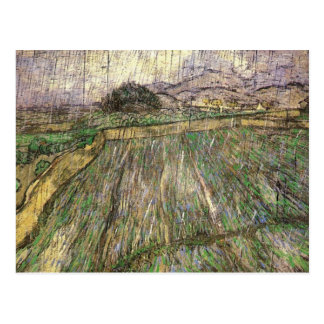 Wheat Field in Rain, Van Gogh Fine Art Postcard