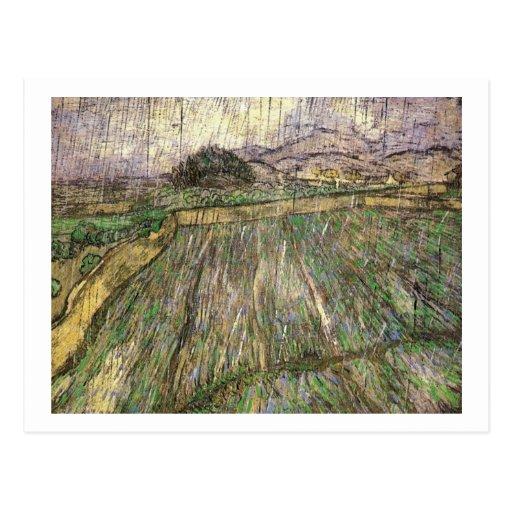 Wheat Field in Rain, Vincent van Gogh Post Card