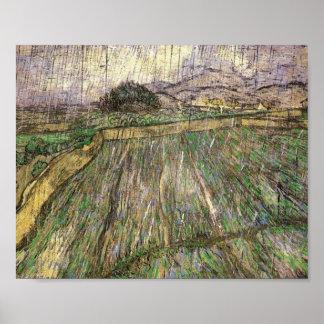 Wheat Field in Rain, Vincent van Gogh Poster