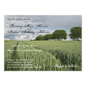 Wheat Field Oak Tree Country Wedding Invitations