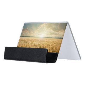 Wheat field on sunset desk business card holder