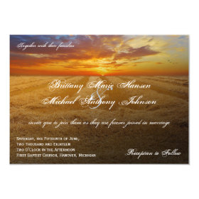 Wheat Field Sunset Country Wedding Invitations