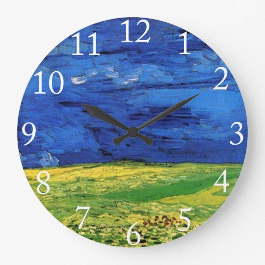 Wheat Field Under Clouded Sky by Van Gogh. Large Clock