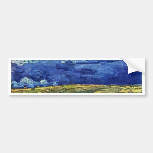 Wheat Field Under Clouded Sky By Vincent Van Gogh Bumper Stickers