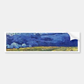 Wheat Field Under Clouded Sky By Vincent Van Gogh Car Bumper Sticker