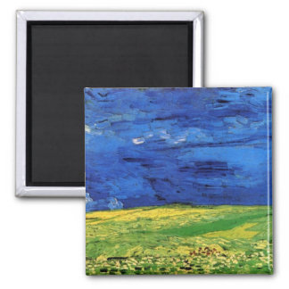 Wheat Field Under Clouded Sky by Vincent van Gogh Refrigerator Magnet