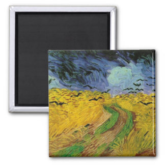 Wheat Field Under Threatening Skies 2 Inch Square Magnet