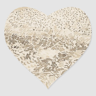 Wheat Field - Van Gogh Heart Sticker