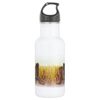 Wheat Field western country cowboy boot Water Bottle