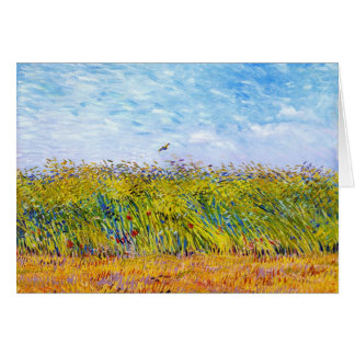 Wheat Field with a Lark by Vincent Van Gogh Card
