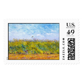 Wheat Field with a Lark by Vincent Van Gogh Postage