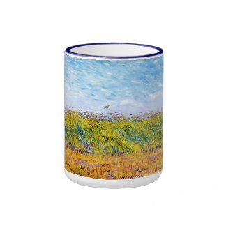 Wheat Field with a Lark by Vincent Van Gogh Ringer Mug