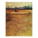 Wheat field with a view of Arles by van Gogh Print