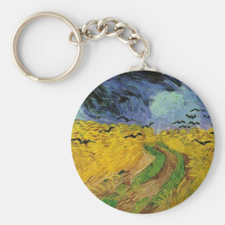 Wheat Field with Crows Basic Round Button Keychain