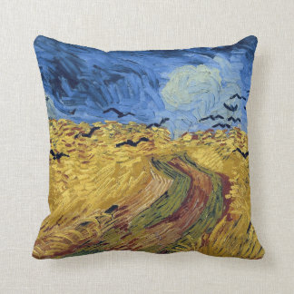 Wheat Field with Crows by Van Gogh Throw Pillow