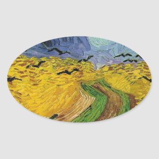 Wheat Field with Crows Oval Sticker