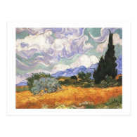 Wheat Field with Cypress by Van Gogh. Postcard