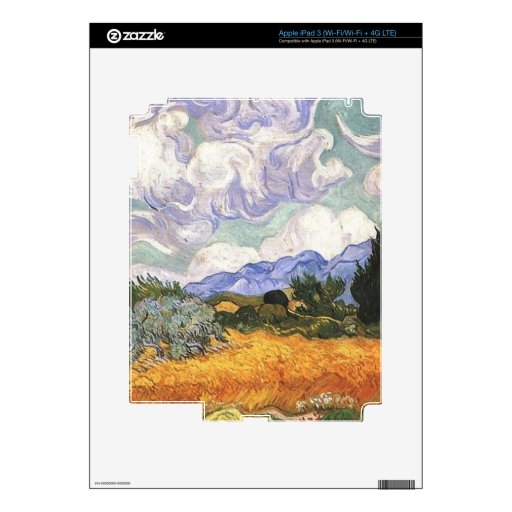 Wheat Field with Cypress by Van Gogh. Skins For iPad 3