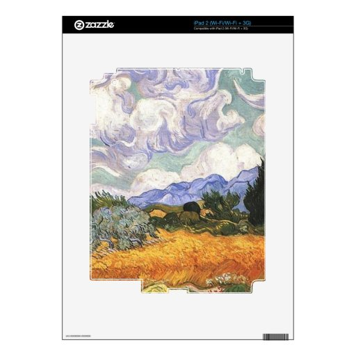 Wheat Field with Cypress by Van Gogh. Skin For The iPad 2