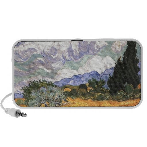 Wheat Field with Cypress by Van Gogh. Laptop Speakers