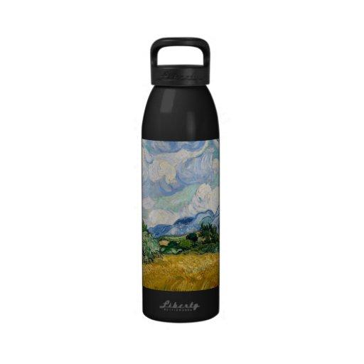 Wheat Field with Cypresses Bottle Water Bottle