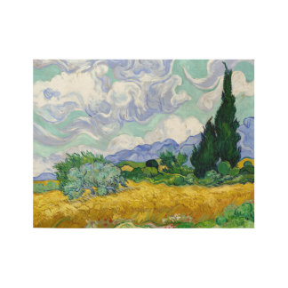 Wheat Field with Cypresses by Van Gogh Fine Art Wood Poster
