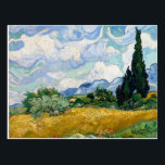 """Wheat Field with Cypresses by Van Gogh Postcard<br><div class=""""desc"""">A postcard with the oil painting by Vincent van Gogh,  Wheat Field with Cypresses near Eygalieres (1889). A landscape of cypress trees in the fields with a swirled blue and white sky.</div>"""