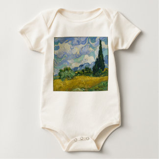 Wheat Field with Cypresses by Vincent van Gogh Baby Bodysuit