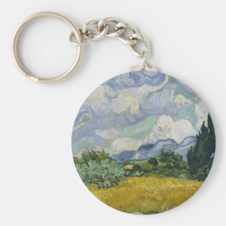 Wheat Field with Cypresses by Vincent van Gogh Basic Round Button Keychain