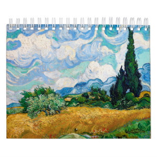 Wheat Field with Cypresses by Vincent van Gogh Calendar