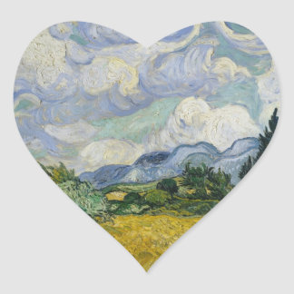 Wheat Field with Cypresses by Vincent van Gogh Heart Sticker