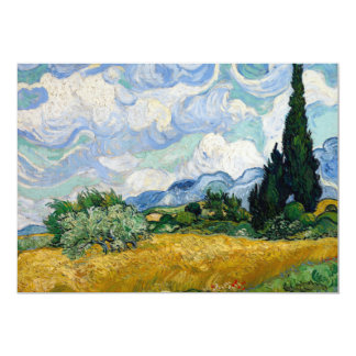 """Wheat Field with Cypresses by Vincent Van Gogh 5"""" X 7"""" Invitation Card"""